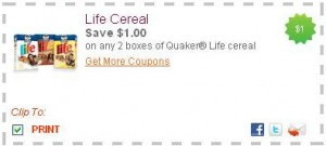 picture about Quaker Printable Coupons named Clean Printable Discount codes: Everyday living Cereal, Quaker +even more! - The