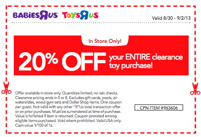 image about Toys R Us Printable Coupons referred to as Refreshing Toys R Us CouponSave an A lot more 20% upon Clearance! - The