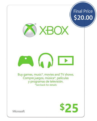 25 Xbox Gift Card Only 20 Plus Free 5 Digital Code The