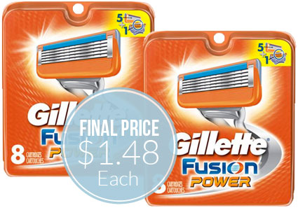 graphic about Gillette Fusion Coupons Printable identified as Gillette Fusion Refill Cartridges, Simply just $1.48 Every Transported