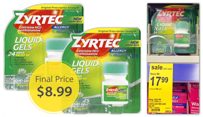 luckily so is a deal on zyrtec this week at walgreens zyrtec liquid gels are on sale for 1799 use a 500 printable manufacturer coupon with a 400