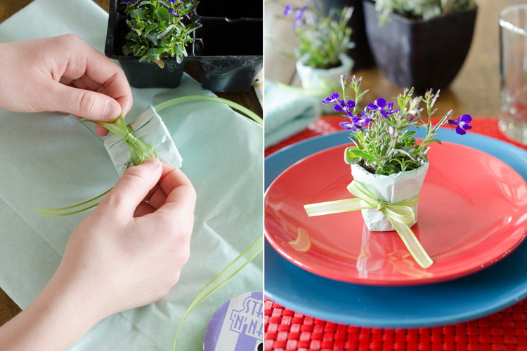 Cover them in fabric or tissue paper to make tiny, decorative planters.