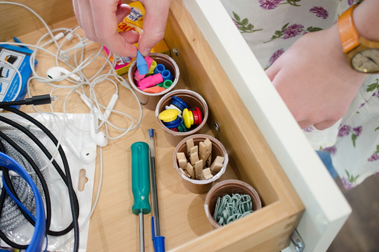 Use them to organize small office or craft supplies.