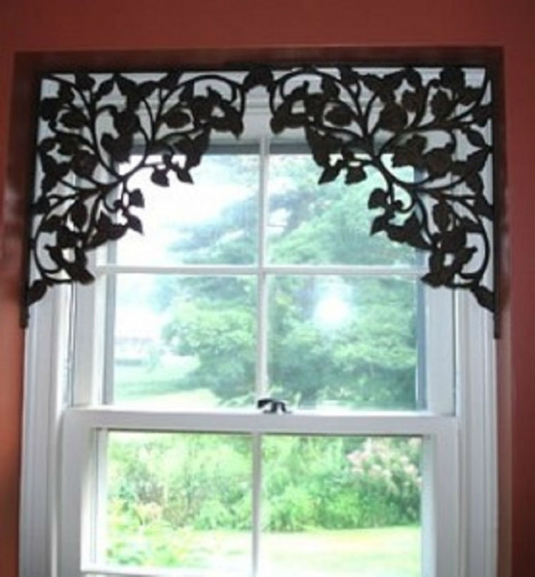Add metal shelf brackets to windows that don't need curtains.