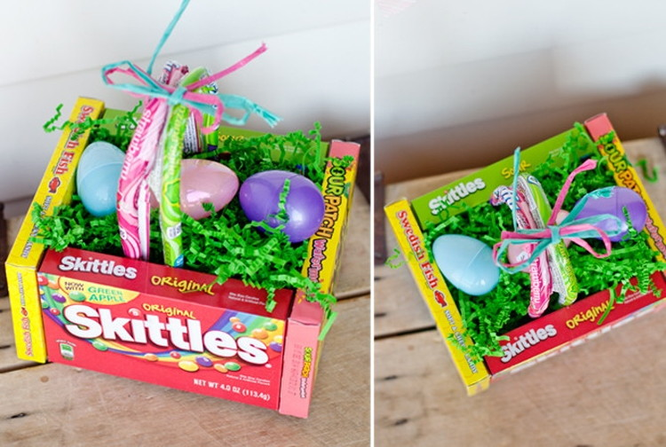 Make an Easter basket out of candy boxes.