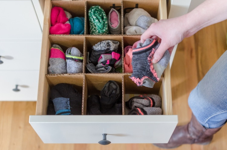 Make drawer dividers with cardboard boxes.