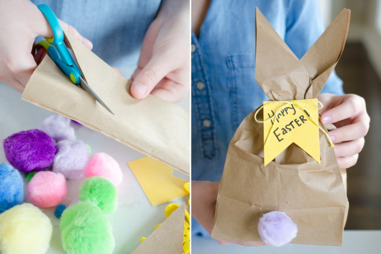 Use a brown paper bag and pom poms to make an Easter Bunny lunch bag.