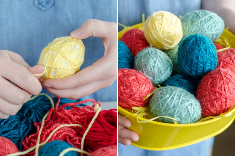 Wrap plastic Easter eggs in yarn for colorful decor.