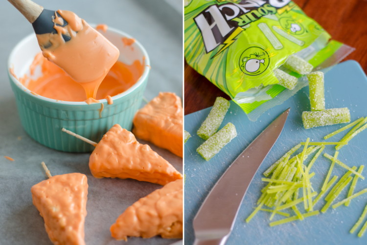 Make Rice Krispies carrots with candy melts and apple sour punch bites.