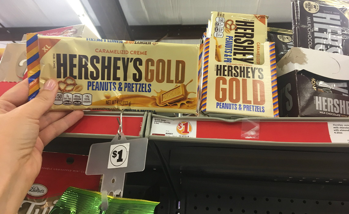 photo about Family Dollar Printable Coupons known as Hersheys Gold XL Bars, Just $0.75 at Household Greenback! - The
