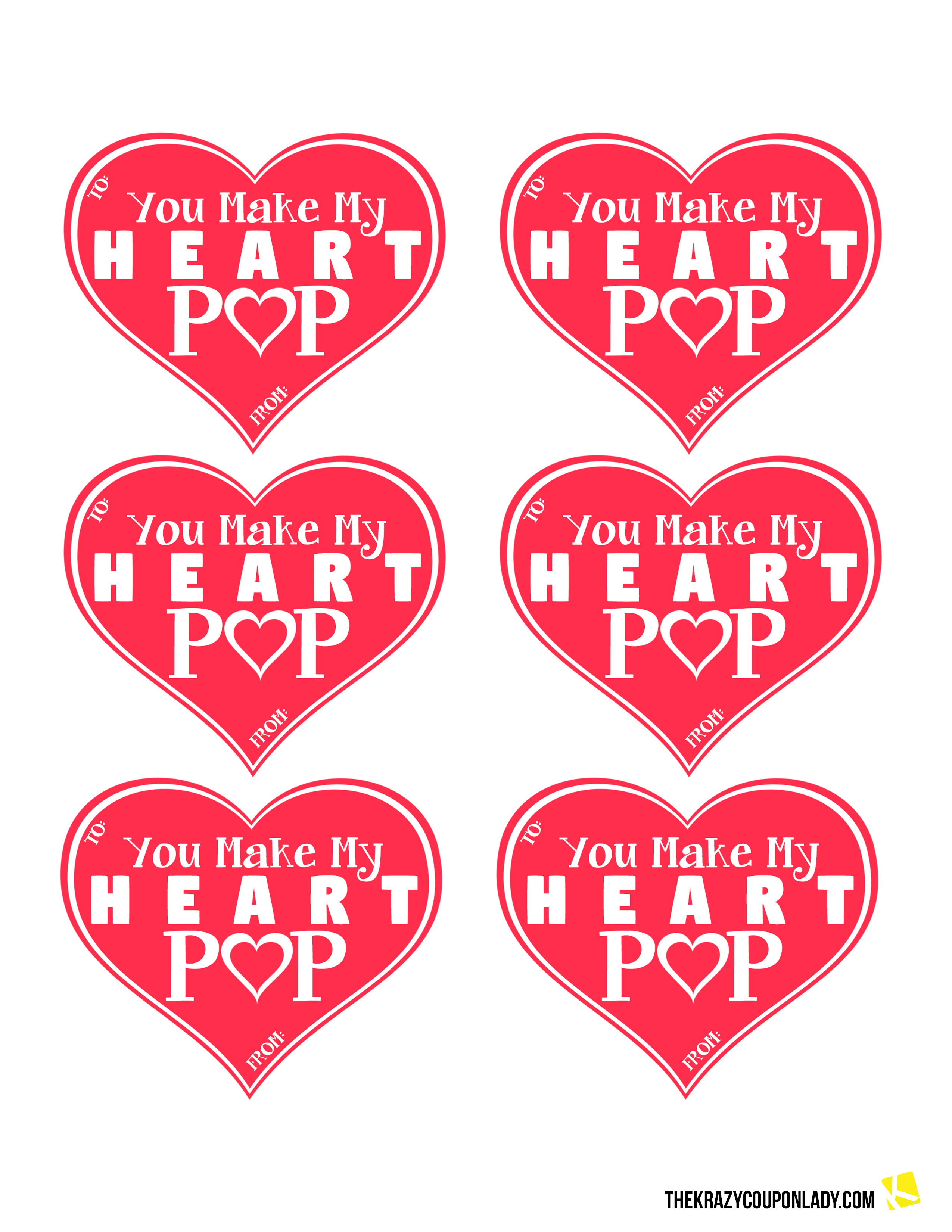 graphic about You Make My Heart Pop Valentine Printable named Final 13 Greenback Retail store DIYs for Valentines Working day - The Krazy